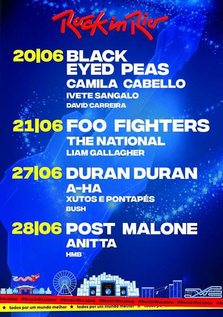 Rock in Rio Lisboa 2020: Foo Fighters, The National, Liam Gallagher, Duran Duran, A-Ha, Incubus, El Columpio Asesino, Black Eyed Peas...