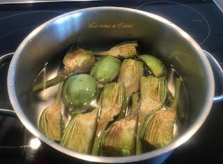 Alcachofas estofadas con jamón