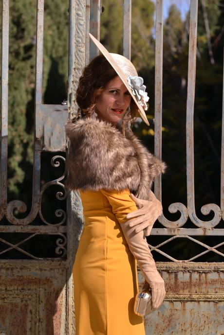 MUSTARD DRESS WITH PAMELA