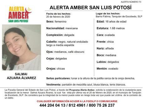 Activan Alerta Amber en SLP para encontrar niña de 16 años