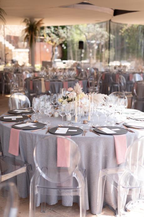 Set de mesa rose and grey silla ghost chair
