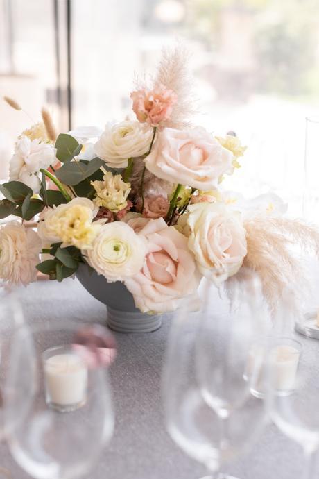 Centro de mesa flores rosas