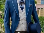 Chaqué novio azul royal pantalón raya diplomática