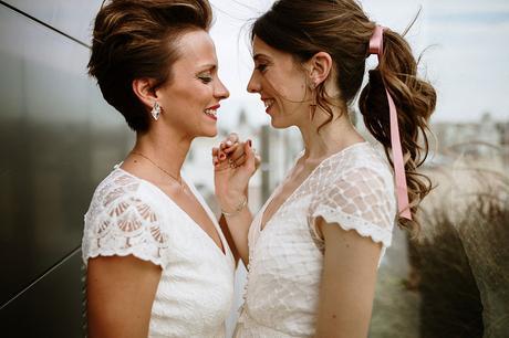 dos novias fotografia boda LGTB urbana boho chic