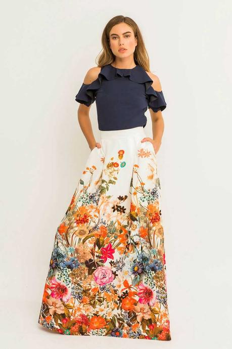 Combinar Falda De Flores Larga