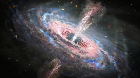 Ilustración de un remolino polvoriento de partículas en espiral, con corrientes de material brillante que salen del centro.