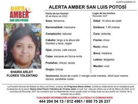 Activan Alerta Amber para Sharis Arlet de 15 años de Rioverde