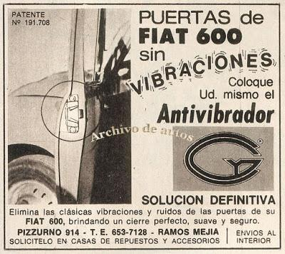 Antivibrador para puertas del Fiat 600