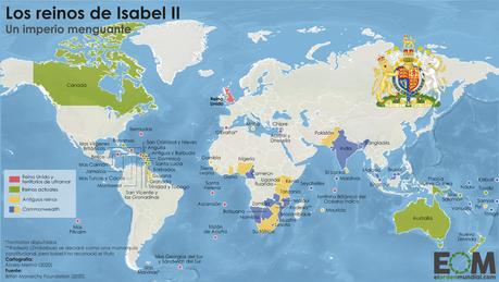 ¿En qué países, además del Reino Unido, es reina Isabel II?