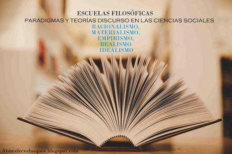 ESCUELAS FILOSÓFICAS PARADIGMAS Y TEORÍAS DISCURSO EN LAS CIENCIAS SOCIALES   RACIONALISMO, MATERIALISMO, EMPIRISMO, REALISMO E IDEALISMO