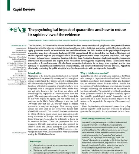 El impacto psicológico de la cuarentena y cómo reducirlo: Una revisión de la evidencia