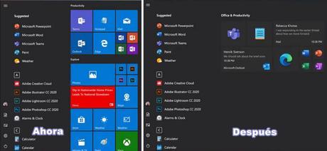 El nuevo menú de inicio de Windows 10 está quedando bien, pero con mucho espacio desperdiciado