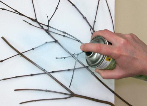 Diy un cuadro con un lienzo y unas ramas paperblog - Como enmarcar un lienzo ...