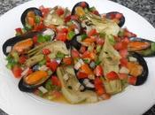 Mejillones alcachofas vinagreta verduras