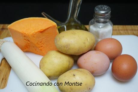 Tortilla de patatas con puerro y calabaza