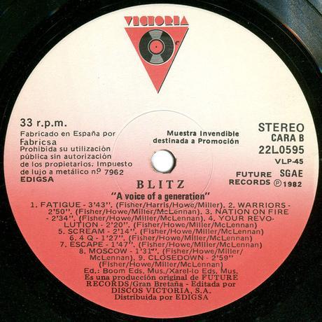 Blitz - Voice of  generation Lp 1983