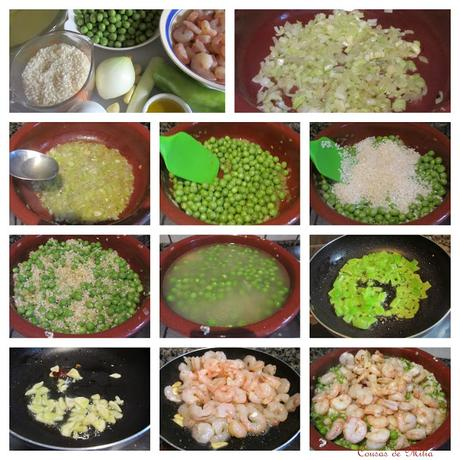 Arroz con guisantes, pimiento verde y gambas al ajillo