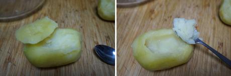 Patatas rellenas de atún y queso