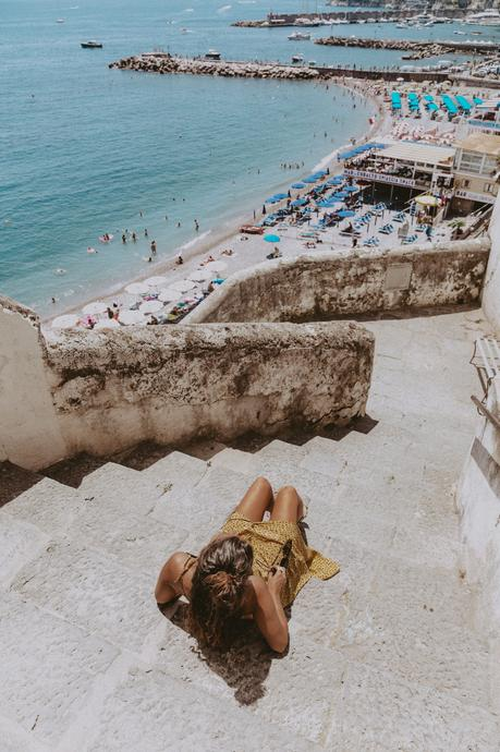 Sara from Collage Vintage wearing a slip dress at Amalfi coast