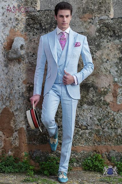 Traje de novio a medida azul claro de lino