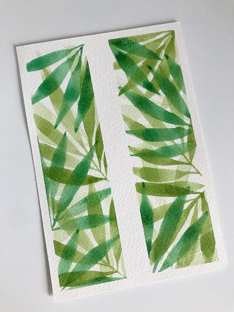 Acuarela botánica: pintar hojas de palmera.