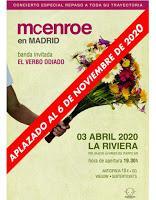 Concierto de McEnroe y El Verbo Odiado el 6 de Noviembre en La Riviera