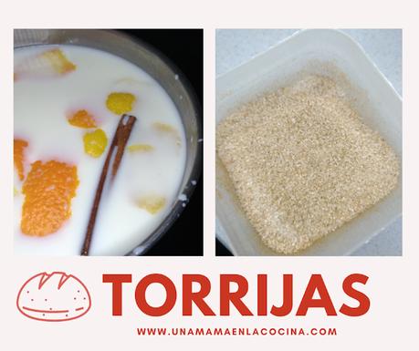 Torrijas caseras receta, cazo con leche canela piel de naranja y limón y mezcla de azúcar con canela