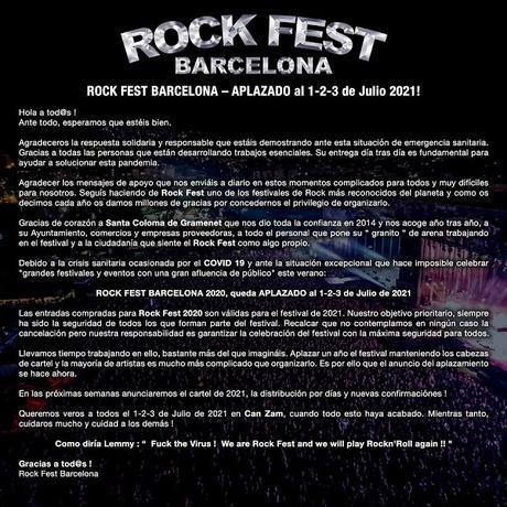 Aplazado a 2021 el Rock Fest Barcelona