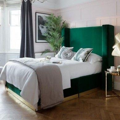 Cama terciopelo verde decoración