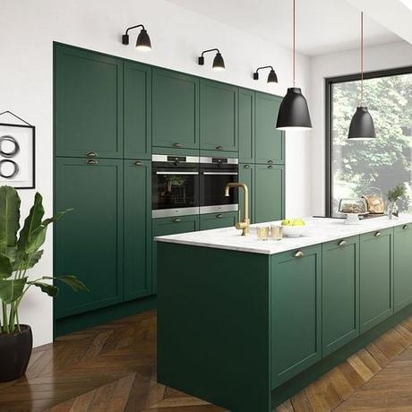 Puertas de cocina en verde