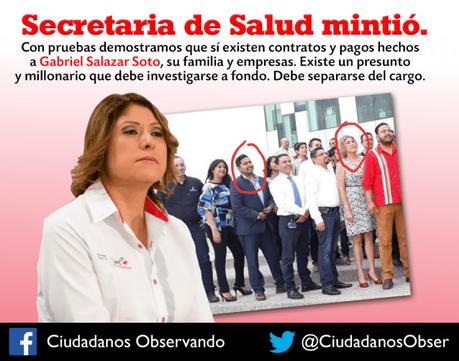 Mintió la Secretaria de Salud, si hay contratos con empresas de Gabo Salazar
