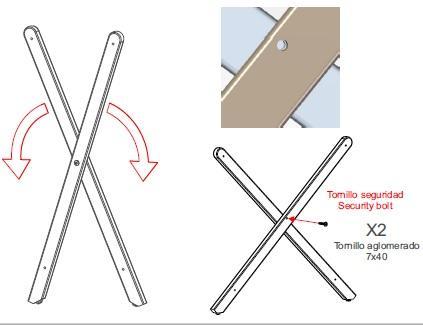 tornillo seguridad estructura tijera plegable