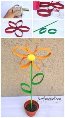 10 Hermosas flores reciclando tubos de papel de baño