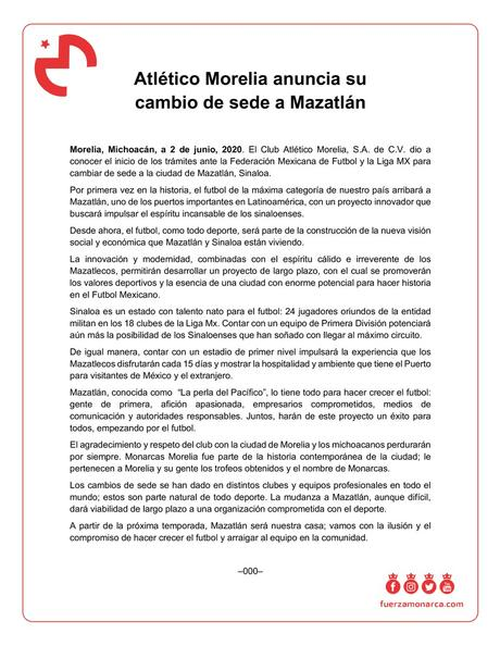 Morelia cambia de sede a Mazatlán Sinaloa