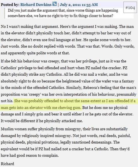 Dawkins, las mujeres musulmanas, Rebecca Watson y los chicles