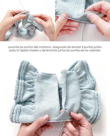 Cómo tejer el vestido de punto para niña y bebé SEASIDE - Patrón y Tuorial Paso a Paso - Forma la capeta de cierre