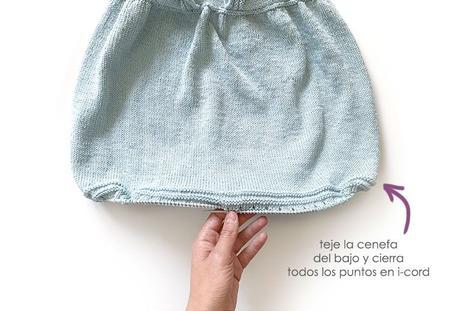 Cómo tejer el vestido de punto para niña y bebé SEASIDE - Patrón y Tuorial Paso a Paso - Teje la cenefa de la falda