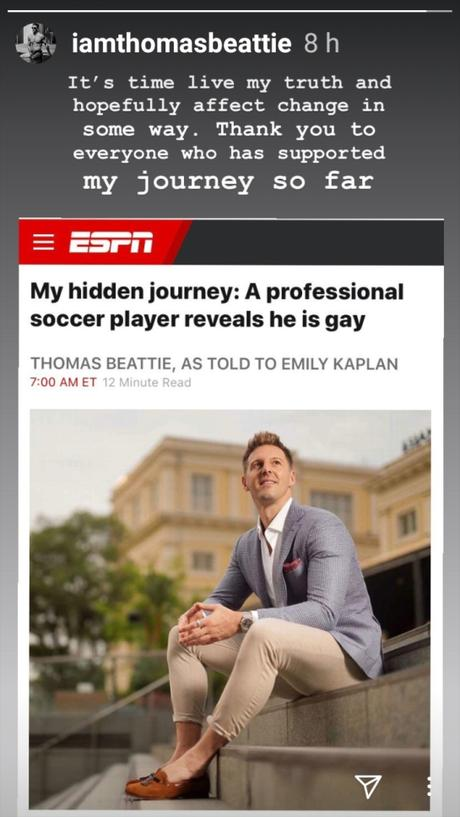 Thomas Beattie futbolista, salió del closet