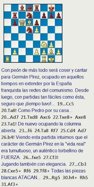 EL JUEGO DE NUESTRAS VIDAS - La edad de oro del ajedrez grancanario - Parte Primera, 1954-1965 - Una partida de Germán Pírez