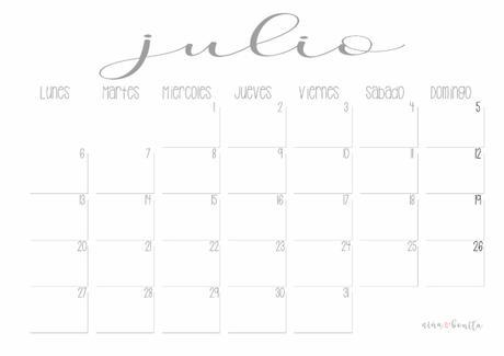 IMPRIMIBLE: Calendario julio 2020