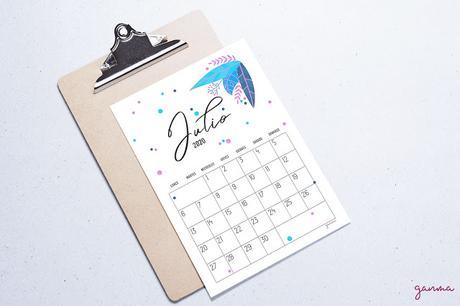 Freebie: Calendario Julio 2020