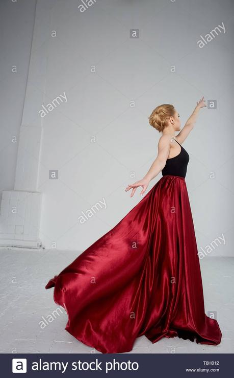 Falda Circular Roja De Satin