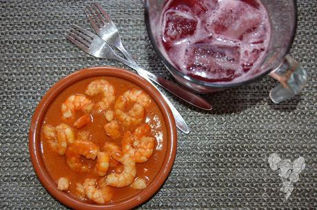 Gambas al ajillo con salsa de soja