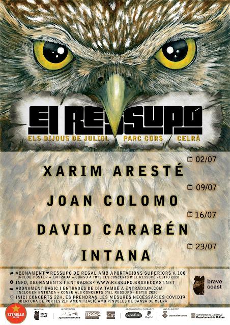 [Noticia] Cartel de la XI edición del Ressupó, el que cuentan con David Carabén, Intana, Joan Colomo y Xarim Aresté