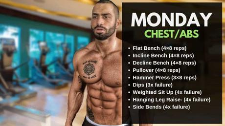 rutina de entreno lunes