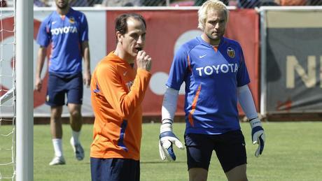 Voro en 2008 junto a Cañizares cuando tuvo que coger al equipo para salvarlo del descenso.