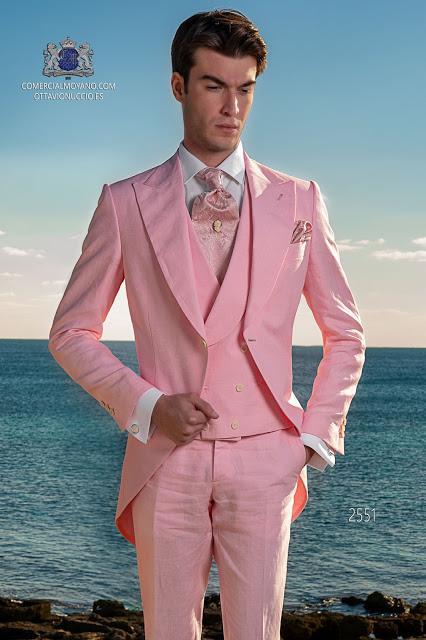 Chaqué de novio rosa es puero lino ibicenco Ottavio Nuccio Gala