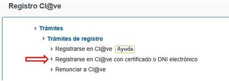 Como registrarse en Cl@ve a través de Internet con certificado electrónico o DNIe