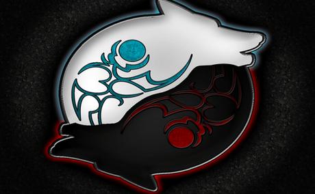 lobos formando el yin y ek yang representando la leyenda cherokee de los dos lobos