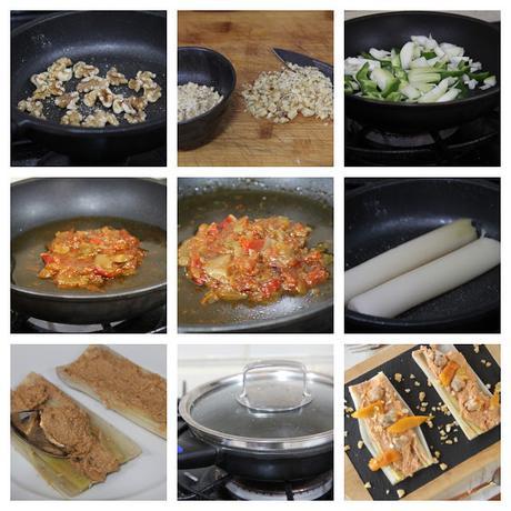 puerros de sahagun con salsa de verduras pasos